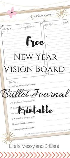 FREE New Year Vision Board Bullet Journal Printable - - Get ready to conquer the new year with a vision board in your bullet journal! Use this new year vision board bullet journal printable to get rid of old habits and focus on the big picture. Bullet Journal Goal Setting, How To Bullet Journal, Bullet Journals, Planner Free, Planner Pages, Happy Planner, Planner Ideas, Weekly Planner, Arc Planner