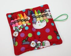 SALE! STOCKING STUFFER Crayon Roll Snowman Red Crayon Rollup, holds up to 10 Crayons Christmas Crayon Roll Party Favors Snowman Crayon Roll