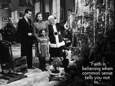 """Publicity stil from the 1947 movie """"Miracle on Street"""" with John Payne, Maureen O'Hara, Natalie Wood and Edmund Gwenn one of my favorite christmas trees and my favorite Santa Charlie Brown Christmas Quotes, Christmas Movie Quotes, Classic Christmas Movies, Classic Movies, Vintage Christmas, Holiday Movies, Christmas Classics, Merry Christmas, White Christmas"""