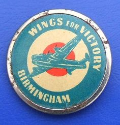 WW2 Wings for Victory, Birmingham - bomber aircraft fund raising badge (1943)