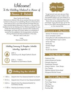 Welcome your out of town guests with this letter that also acts as an itinerary. Provide your guests with a wedding weekend time line, additional