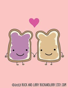 Peanut Butter Loves Jelly 8.5 x 11 Illustration by BuckAndLibby We Belong Together series #PB We go together like peanut butter and jelly