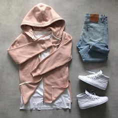 - H & M pink pale hoodie - H & M white oversize t-shirt - Levis 511 White Swag Outfits, Mode Outfits, Urban Outfits, Casual Outfits, Fashion Outfits, Men Casual, Urban Apparel, Hoodie Outfit, Vans Hoodie