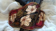 Custom hand tooled leather Holster floral design by pinkpistolholsters.com