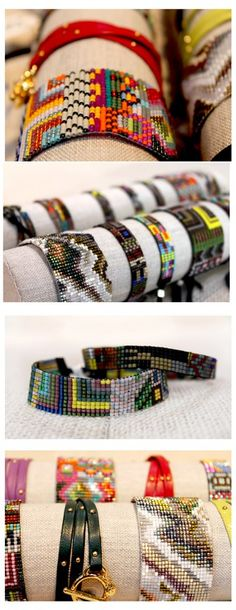 """http://www.stitchchicago.com/""""Kyoto"""", """"Havana"""", and """"Galapagos"""" handwoven beaded bracelets"""
