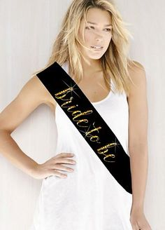 """$15 - love it in white or black with either silver or gold writing. Double -faced satin sash embellished with 'Bride to Be' in stunning glitter print available in an assortment of colors. Perfect touch to a Bridal Shower or Bachelorette Party! Features and Facts: Measure: 3"""" W x 72"""" L and is folded in half to 36"""" when worn. It can be fastened with a pin, clip, brooch etc. (Not included). Material: Satin."""