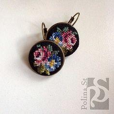 Серьги с вышивкой в каталоге Аксессуары на Uniqhand - цветы, сережки, Новый год, металлическая фурнитура