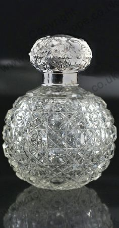 1901 CUT CRYSTAL SPHERICAL SCENT PERFUME BOTTLE, SILVER TOP
