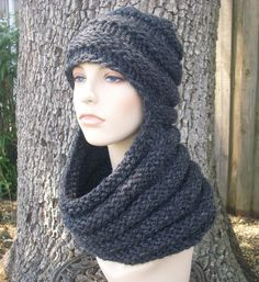 Knitting Pattern - Knit Hat Knitting Pattern PDF for Zhivago Cowl Scarf Hat - Fall Fashion Autumn Accessories Fall Cowl Knit Beanie. $5.00, via Etsy.