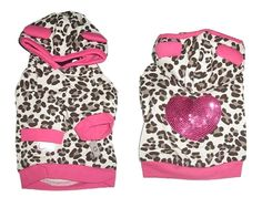 Leopard Sequin Heart Dog Hoodie- Designer Dog Clothes at GlamourMutt.com