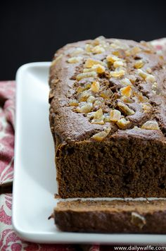gingerbread banana loaf | dailywaffle  Regular banana bread is transformed into delicious holiday-flavored loaf with ginger, cloves, nutmeg and cinnamon...and a bit of molasses.