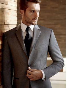 Black by Vera Wang, Men's Warehouse Groomsmen suits. With solid dark Navy tie instead of black.