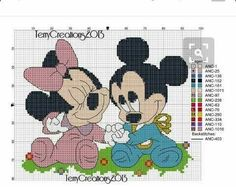 Baby Mickey Mouse, Mickey Y Minnie, Mickey Mouse And Friends, Cross Stitch Baby, Cross Stitch Charts, Animated Disney Characters, Stitch Character, Gata Marie, Disney Cross Stitch Patterns