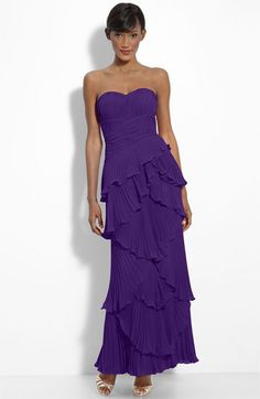 Oh, how pretty!  Dalia MacPhee Tiered Pleat Chiffon Gown | Nordstrom