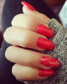 Strawberry red gel nails :D :)