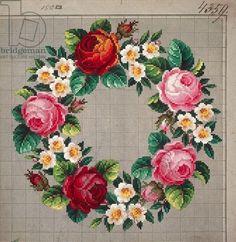 Венчике из роз и цветы персика вышивка дизайн, 19-го века: