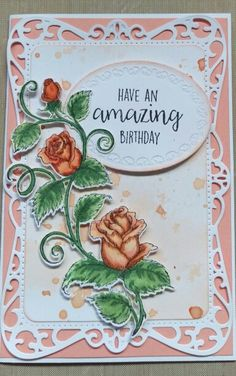 Heartfelt Creations Classic Rose stamp and die with Spellbinders.