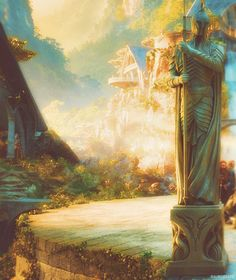 Elven warrior statue at the entrance to Rivendell