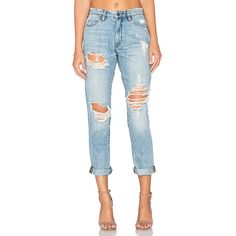 BLANKNYC Destroyed Boyfriend Denim (150 NZD) ❤ liked on Polyvore featuring jeans, boyfriend fit jeans, distressing jeans, blue denim jeans, torn jeans and distressed jeans