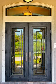 Black Front Door With Wrought Iron.Exterior Wrought Iron Doors With Sidelights. Front Door Ideas: Let People Into Your Home Beautifully . Wrought Iron Window Or Door Arch Trellis 2 Sizes Available. Grill Door Design, Main Door Design, Front Door Design, Iron Front Door, Glass Front Door, Front Entry, Main Entrance Door, Entry Doors, Unique Front Doors