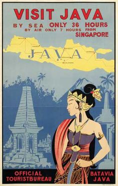 Java Indonesia Travel Poster Wall Decor print sizes available) Old Posters, Vintage Travel Posters, Vintage Airline, Historic Posters, Retro Posters, Pub Vintage, Vintage India, Vintage Style, Tourism Poster