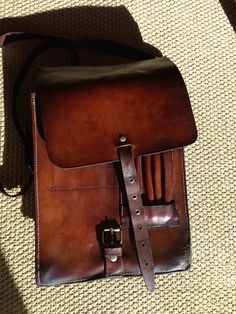 Repurposed Swiss military vintage leather map bag into an AirMac/iPad satchel.