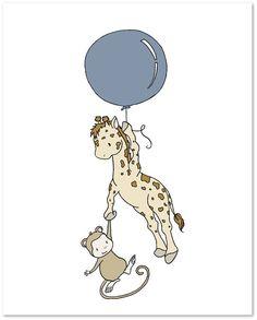 Giraffe and Monkey Balloon -- Safari Nursery Art -- by Sweet Melody Designs
