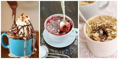 Mug cakes are great when you're craving a fast solo sweet treat. These easy mug cake recipes are quick to make, easy to clean up, and absolutely decadent. 13 Desserts, Dessert Cake Recipes, Delicious Desserts, Yummy Food, Microwave Desserts, Tasty Meals, Healthy Desserts, Mug Cakes, Mug Recipes