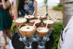 Tropical cocktails for a destination wedding in Tulum at the Ana y Jose Beach Club. They look yummy to me, salud! Mexico wedding photographers Del Sol Photography