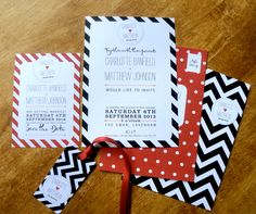 Spots+Stripes - wedding invitation set, save the date cards and matching place card tag. Wedding Invitation Sets, Wedding Stationery, Striped Wedding, Candy Stripes, Retro Look, Card Tags, Save The Date Cards, Stripes Design, Sticker Design