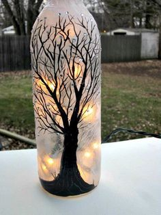 Wine Bottle Light, Night Light, Hand Painted Wine Bottle, Black Tree, Sparkles on Etsy, $22.00