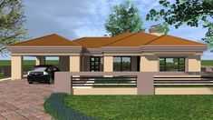 Overall Dimensions- 1 Car GarageArea- Square metres Model House Plan, My House Plans, Beautiful House Plans, Beautiful Homes, House Plans South Africa, Three Bedroom House Plan, Double Storey House, Building Costs, My Dream Home
