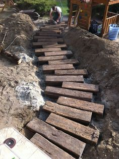 Side Yard Landscaping, Landscaping Retaining Walls, Railroad Ties Landscaping, Landscape Stairs, Landscape Design, Garden Steps, Garden Paths, Back Gardens, Outdoor Gardens