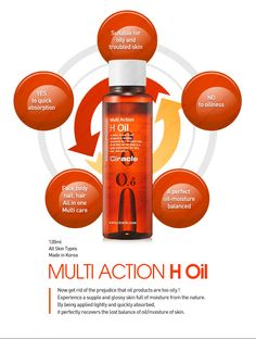 [Ciracle] Multi Action H Oil  Real jack-of-all-trades multi oil  Feel the most extreme moisture from tip to toe.   + Suitable for oily & troubled skin + No to oiliness, Yes to quick absorption + All-in-One,  Multi care product + A perfect oil-moisture balanced   Brand : Ciracle All skin Types Volume: 120ml by $30.99