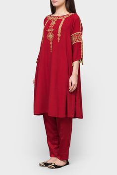 Maroon embroidered kameez with pants - Generation