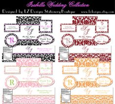 Free 4 Sets of color printable labels in a Damask design. Round labels, oval labels, and other sizes you can use as Favor Labels.. These are really nice..