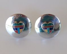 Clip Earrings, Sterling Silver with Inlay Heart, Native American, New