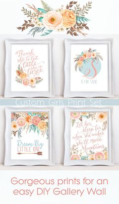 Set of four prints for little girls nursery room in a floral boho theme. Perfect for an easy girls nursery room gallery wall