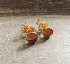 Gold Stud Earrings – Citrine Gemstone tiny earrings studs yellow gold – a unique product by MadamebutterflyMeagan on DaWanda
