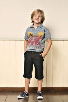 M2A Jeans | Fall Winter 2014 | Kids Collection | Outono Inverno 2014 | Coleção Infantil | peças | camisa polo infantil; bermuda jeans infantil; jeans; denim.