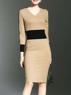 Two Way Color Block bodycon dress bodycon dress outfit bodycon dress formal bodycon dress casual bodycon dress homecoming Bodycon Dress Formal, Bodycon Dress With Sleeves, Long Sleeve Midi Dress, Blouse Dress, Casual Dresses, Fashion Dresses, Dresses For Work, Ft Tumblr, Gaines