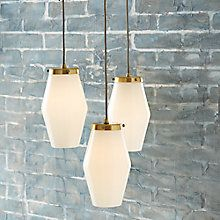Buy west elm Mid Century Opal Glass Three Light Pendant Ceiling Light, White Online at johnlewis.com