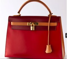 Hermes Vintage Red & Camel Leather 32cm Kelly Bag #portero