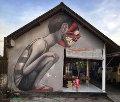 Street Art by Seth Globepainter Canggu Bali Indonesia #art #graffiti #streetart