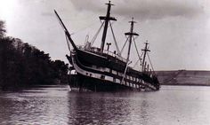 In 1953, while being towed back to Birkenhead for a refit, HMS Conway ran aground on flat rocks near the bridge on the Menai Strait. As the tide went down the ship's back broke, leaving her wrecked on the edge of the Straits.