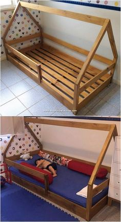 If you want to make the perfect use of the old shipping pallets roaming around in your house uselessly, then create a simple wood pallet kids… Pallet Bunk Beds, Diy Pallet Bed, Diy Pallet Furniture, Diy Pallet Projects, Home Projects, Diy Kids Furniture, Garden Pallet, Outdoor Pallet, Furniture Nyc