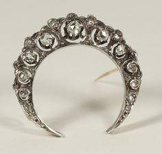 Victorian French Diamond 18 Carats Gold Silver Crescent by LOPRE