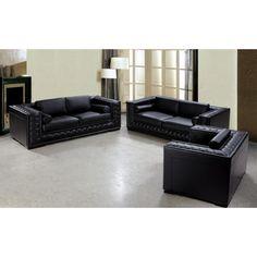 Dublin Luxurious Black Leather Sofa Set