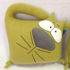 Купить Диванный кот, подушка-обнимашка - оливковый, подушка, подушка декоративная, подушка на диван