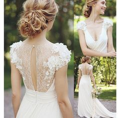 2017 Lace Chiffon Appliqued V-neck Country Bridal Gown Wedding Dresses The wedding dresses are fully lined, 4 bones in the bodice, chest pad in the bust, lace up back or zipper back are all available, total 126 colors are available.This dress could be custom made, there are no extra cost to do custom size and color.Description1, Material: appliques, chiffon2, Color: picture color or other colors, there are 126 colors are available, please contact us for more colors, please ask for fabric…